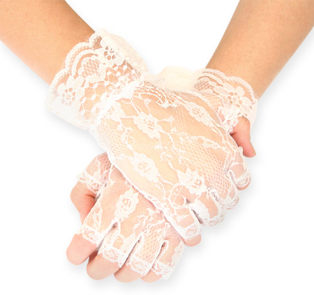 Ladies/' Victorian Lace Floral Gloves Fingerless Wrist Length Accessories