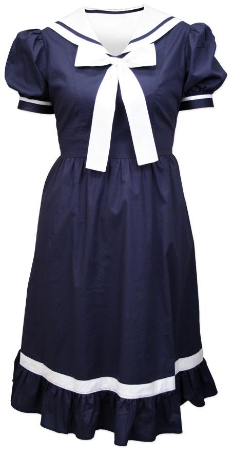 Steampunk Ladies Blue Cotton Solid Bathing Suit | Gothic | Pirate | LARP | Cosplay | Retro | Vampire || Ladies 1900s Bathing Suit - Navy