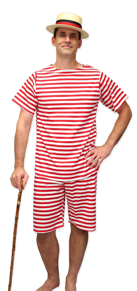 Steampunk Mens Red,White Stripe Bathing Suit | Gothic | Pirate | LARP | Cosplay | Retro | Vampire || Mens 1900s Bathing Suit - Red/White