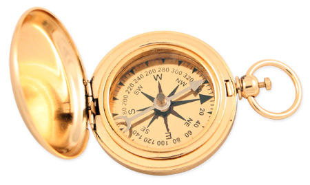 1800s Mens Gold Brass Compass | 19th Century | Historical | Period Clothing | Theatrical || Dalvey Style Compass - 1.75 in. Gold Plated