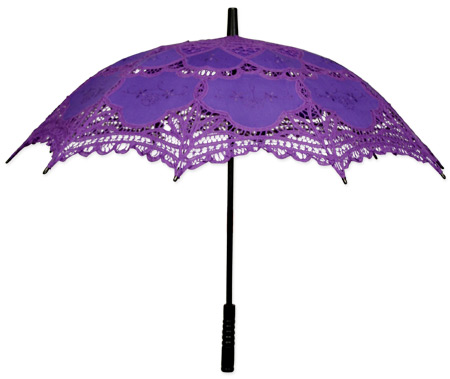 Vintage Ladies Purple Cotton,Lace Lacy Parasol | Romantic | Old Fashioned | Traditional | Classic || Battenberg Lace Parasol - Purple