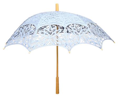 Vintage Ladies Blue Cotton,Lace Lacy Parasol | Romantic | Old Fashioned | Traditional | Classic || Battenberg Lace Parasol - Light Blue