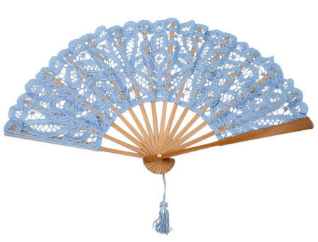 Wedding Ladies Blue Cotton,Lace Fan | Formal | Bridal | Prom | Tuxedo || Fan, Battenberg Lace, Light Blue