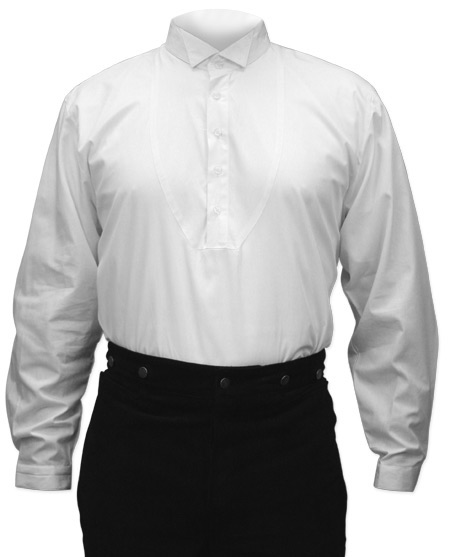 Victorian Mens White Cotton Solid Wing Tip Collar Dress Shirt | Dickens | Downton Abbey | Edwardian || Mens Dress Shirt - Wing Collar