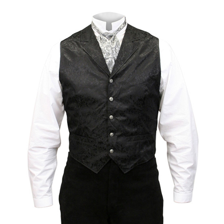 Wedding Mens Black Silk Floral Notch Collar Dress Vest | Formal | Bridal | Prom | Tuxedo || Twin City Silk Vest - Black
