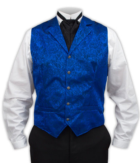 Victorian Mens Blue Silk Floral Notch Collar Dress Vest | Dickens | Downton Abbey | Edwardian || Twin City Silk Vest - Royal Blue