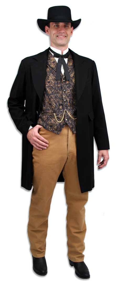 Steampunk Mens Brown Cotton Solid Work Pants | Gothic | Pirate | LARP | Cosplay | Retro | Vampire || Wahmaker Frontier Canvas Pants - Brown