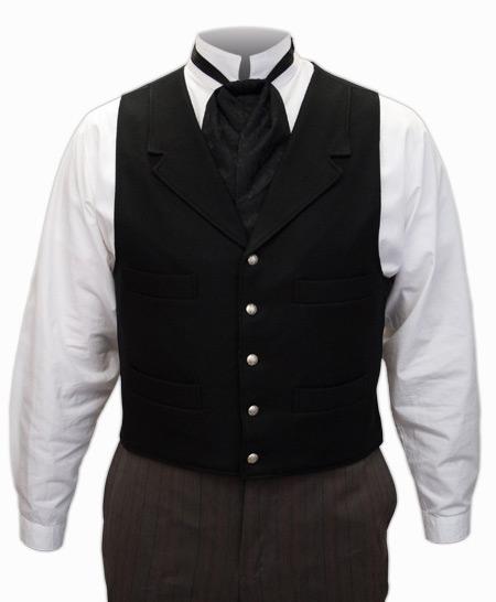 Wedding Mens Black Wool Solid Notch Collar Dress Vest | Formal | Bridal | Prom | Tuxedo || New Banker Vest - Black