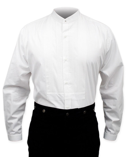 1800s Mens White Cotton Solid Band Collar Dress Shirt | 19th Century | Historical | Period Clothing | Theatrical || Gambler Dress Shirt - White