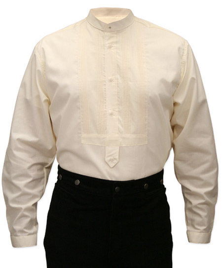 Vintage Mens Ivory Cotton Solid Band Collar Dress Shirt | Romantic | Old Fashioned | Traditional | Classic || Gambler Dress Shirt - Ivory