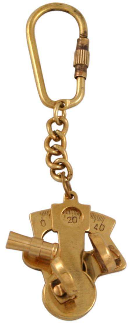 Vintage Mens Brass Brass Keychain | Romantic | Old Fashioned | Traditional | Classic || Brass Sextant Keychain