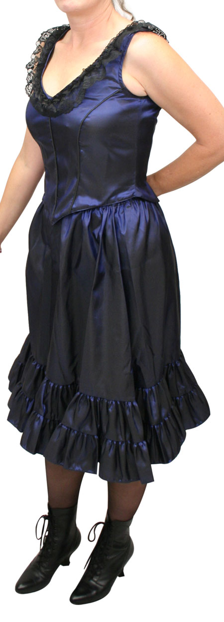 Wedding Ladies Blue Solid Dress | Formal | Bridal | Prom | Tuxedo || Delilah Saloon Dress, Midnight Blue