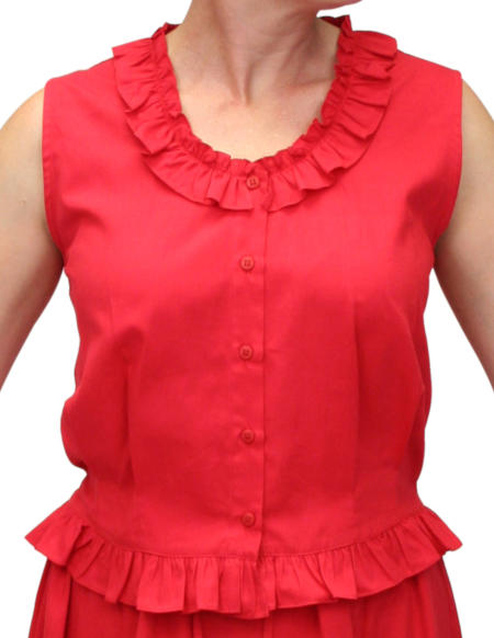 Victorian Ladies Red Cotton Solid Camisole | Dickens | Downton Abbey | Edwardian || Traditional Victorian Camisole - Red Cotton