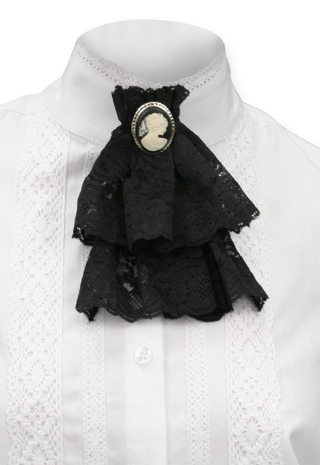 Wedding Ladies Black Solid Jabot | Formal | Bridal | Prom | Tuxedo || Victorian Lace Jabot - Black