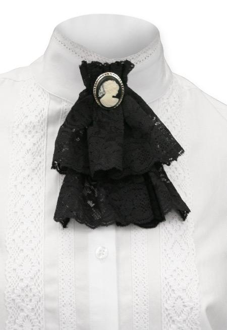 Wedding Ladies Black Solid Jabot | Formal | Bridal | Prom | Tuxedo || Victorian Lace Jabot - Black