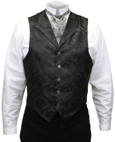 1800s Mens Black Floral Notch Collar Dress Vest | 19th Century | Historical | Period Clothing | Theatrical || Farnsworth Vest