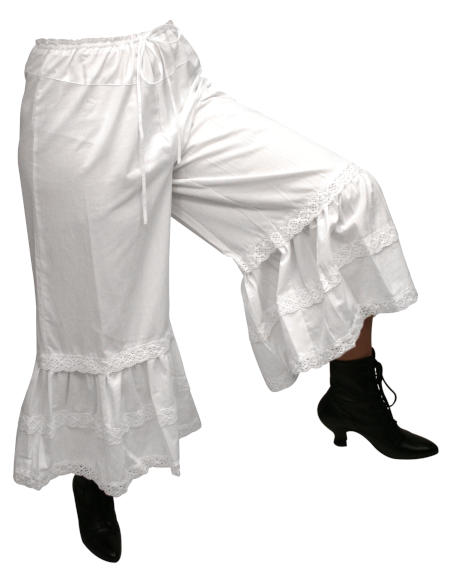 Steampunk Ladies White Cotton Solid Bloomers | Gothic | Pirate | LARP | Cosplay | Retro | Vampire || Classic Cotton Bloomers - White