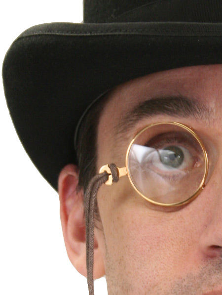 Wedding Mens Gold,Clear Alloy,Plastic Monocle | Formal | Bridal | Prom | Tuxedo || Distinguished Gent Theatrical Monocle - Gold Tone