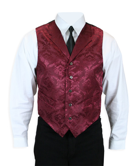 Wedding Mens Burgundy Print Notch Collar Dress Vest | Formal | Bridal | Prom | Tuxedo || Black Cherry Jacquard Vest