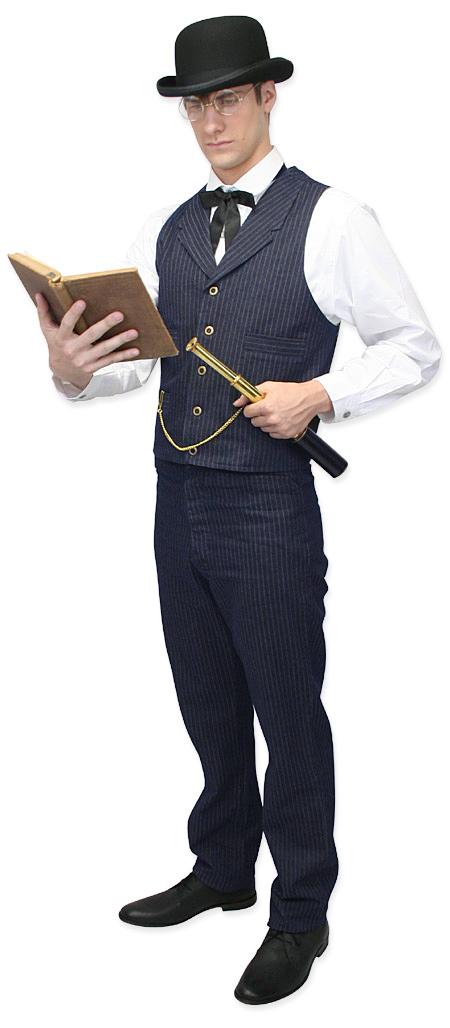 Wedding Mens Blue Cotton Stripe Dress Pants | Formal | Bridal | Prom | Tuxedo || Humboldt Stripe Trousers