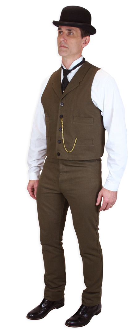 Steampunk Mens Brown Cotton Solid Notch Collar Dress Vest   Gothic   Pirate   LARP   Cosplay   Retro   Vampire    Sable Brushed Cotton Vest