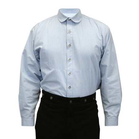 1800s Mens Blue Cotton Solid Banker/Club Collar Dress Shirt | 19th Century | Historical | Period Clothing | Theatrical || Sinclair Edwardian Club Collar Shirt - Blue