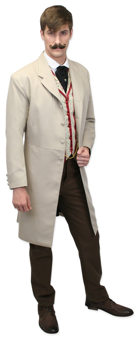 Wedding Mens Brown,Tan Solid Notch Collar Frock Coat | Formal | Bridal | Prom | Tuxedo || Callahan Frock Coat - Khaki