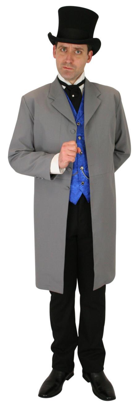 Victorian Mens Gray Solid Notch Collar Frock Coat | Dickens | Downton Abbey | Edwardian || Callahan Frock Coat - Gray