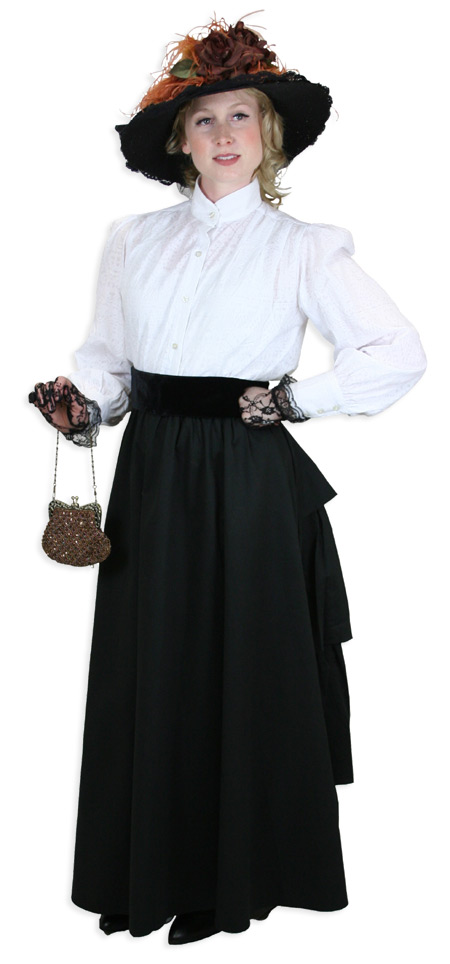 Vintage Ladies Black Cotton Solid Dress Skirt   Romantic   Old Fashioned   Traditional   Classic    Twill Bustle Skirt - Black