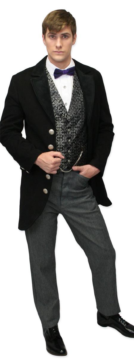 Victorian Mens Black Cotton,Velvet Solid Notch Collar Cutaway Coat | Dickens | Downton Abbey | Edwardian || Velvet Trimmed Edwardian Morning Coat - Black