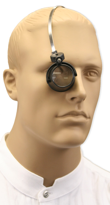 Steampunk Mens Black,Clear Alloy,Glass Magnifier | Gothic | Pirate | LARP | Cosplay | Retro | Vampire || Illuminated Loupe