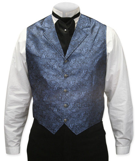 1800s Mens Blue Paisley Notch Collar Dress Vest | 19th Century | Historical | Period Clothing | Theatrical || River Trail Vest - Blue