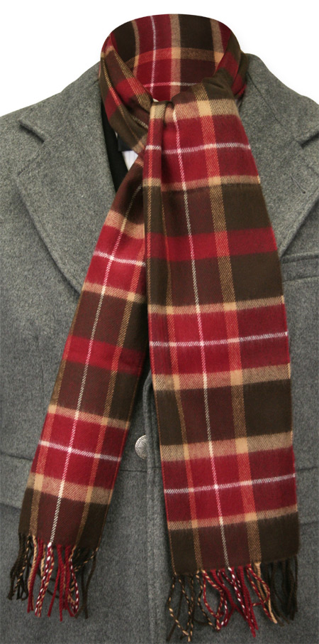 Vintage Mens Multicolor,Red,Brown Wool Plaid Scarf | Romantic | Old Fashioned | Traditional | Classic || Cashmere Wool Scarf - Red/Multi Plaid