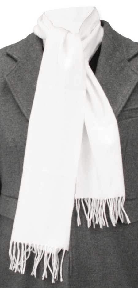 Wedding Mens White Wool Solid Scarf | Formal | Bridal | Prom | Tuxedo || Cashmere Wool Scarf - Snow White