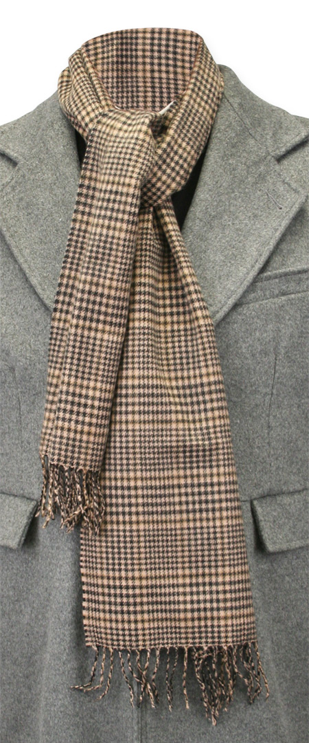 Wedding Mens Brown Wool Plaid Scarf | Formal | Bridal | Prom | Tuxedo || Cashmere Wool Scarf - Taupe Plaid