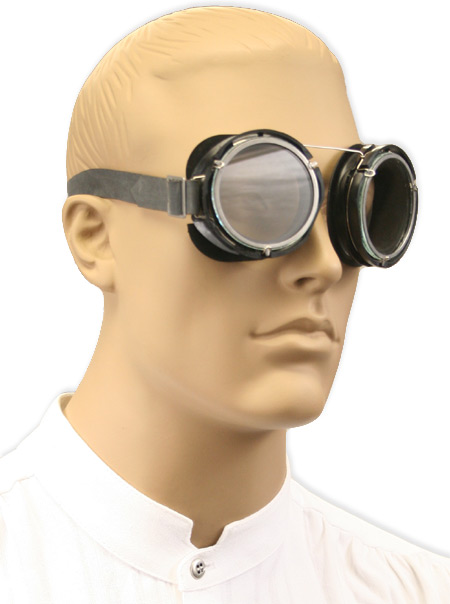 Wedding Mens Silver,Clear,Black Steel Goggles | Formal | Bridal | Prom | Tuxedo || Swiss Motoring / Gunnery Goggles