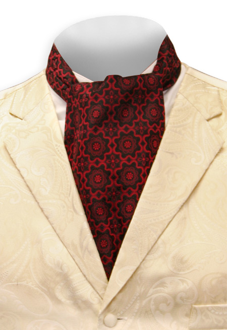 Steampunk Mens Red Geometric Ascot | Gothic | Pirate | LARP | Cosplay | Retro | Vampire || Medallion Ascot - Red and Black