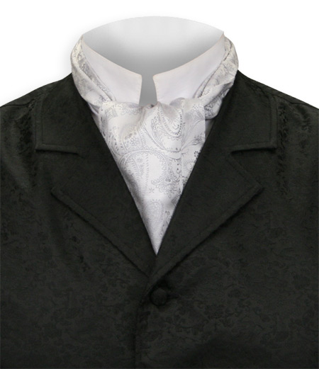 1800s Mens Silver Paisley Ascot | 19th Century | Historical | Period Clothing | Theatrical || Paisley Ascot - Silver