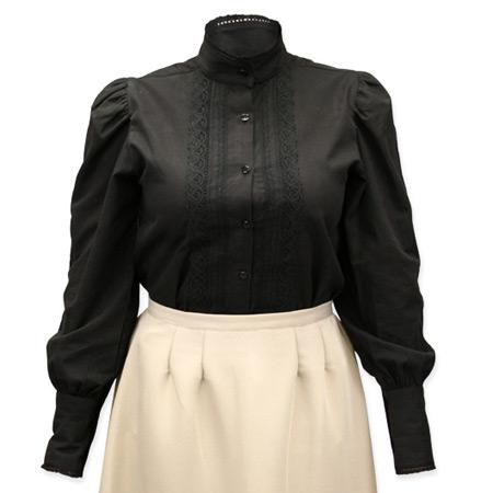 Wedding Ladies Black Cotton Solid Stand Collar Blouse   Formal   Bridal   Prom   Tuxedo    Abbington Blouse - Black