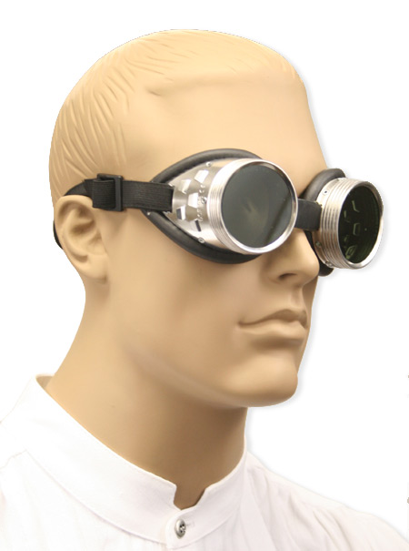 Steampunk Mens Silver Plastic,Steel Goggles | Gothic | Pirate | LARP | Cosplay | Retro | Vampire || Screw Ring Goggles