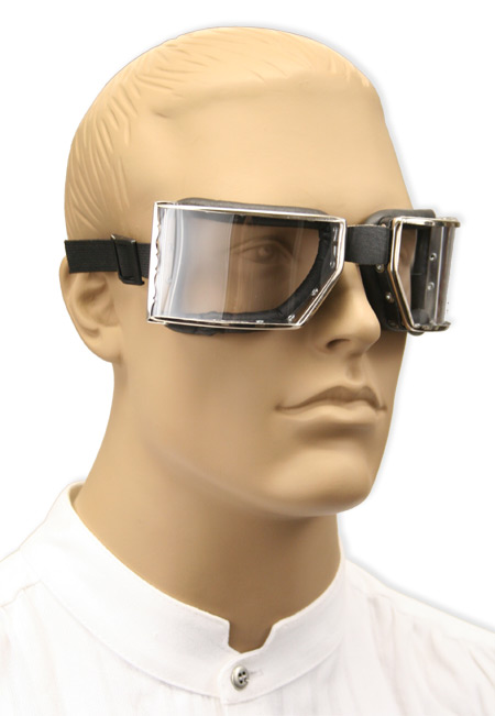 1800s Mens Silver,Clear,Black Plastic,Steel Goggles | 19th Century | Historical | Period Clothing | Theatrical || Richthofen Aviator Goggles