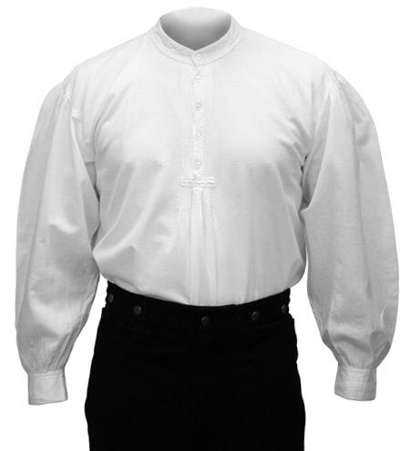 Wedding Mens White Cotton Solid Band Collar Work Shirt | Formal | Bridal | Prom | Tuxedo || Fundamental Work Shirt - White
