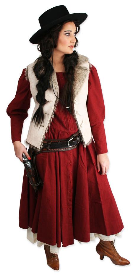 Victorian Ladies Red Cotton Solid Dress   Dickens   Downton Abbey   Edwardian    Cordelia Pioneer Dress - Wine