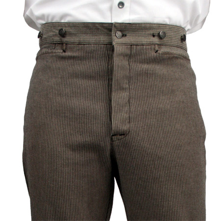 Wedding Mens Brown Cotton Stripe Dress Pants | Formal | Bridal | Prom | Tuxedo || Dodge City Pants - Taupe