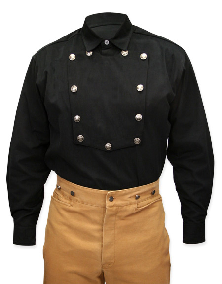 Wedding Mens Black Cotton Solid Point Collar Bib Shirt | Formal | Bridal | Prom | Tuxedo || Brushed Twill Longhorn Shirt - Black