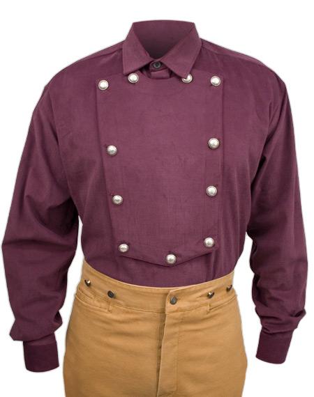 Victorian Mens Burgundy Cotton Solid Point Collar Bib Shirt | Dickens | Downton Abbey | Edwardian || Brushed Twill Longhorn Shirt - Burgundy