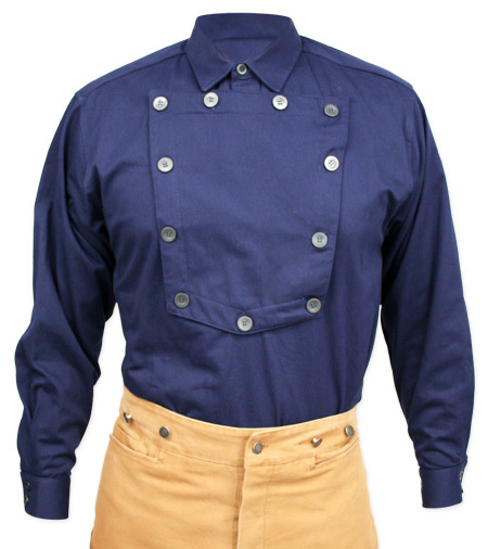 Victorian Mens Blue Cotton Solid Point Collar Bib Shirt | Dickens | Downton Abbey | Edwardian || Cavalry Bib Shirt - Navy