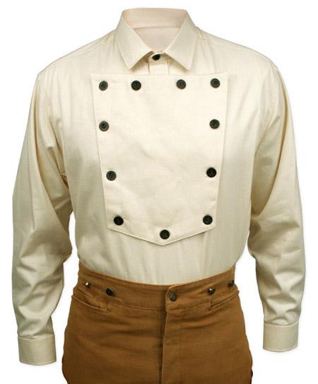 Steampunk Mens Ivory Cotton Solid Point Collar Bib Shirt | Gothic | Pirate | LARP | Cosplay | Retro | Vampire || Cavalry Bib Shirt - Natural