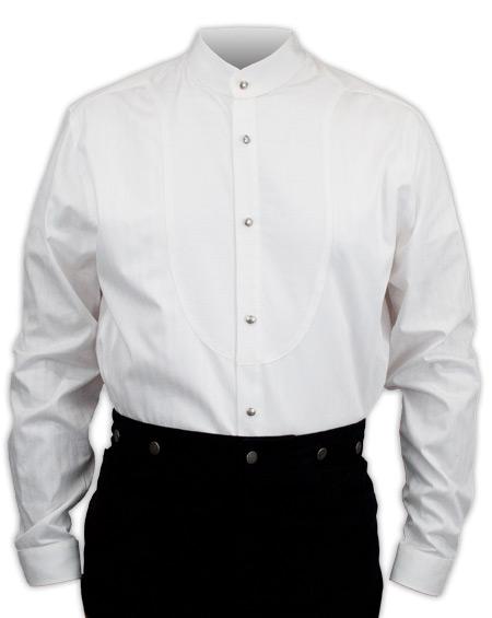 Steampunk Mens White Cotton Solid Band Collar Dress Shirt | Gothic | Pirate | LARP | Cosplay | Retro | Vampire || O.C. Smith Shirt - White