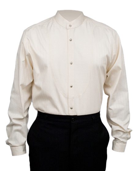 1800s Mens Ivory Cotton Solid Band Collar Dress Shirt | 19th Century | Historical | Period Clothing | Theatrical || O.C. Smith Shirt - Ivory